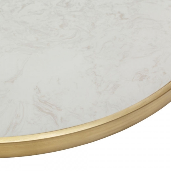 Brass Round Faux Stone Marble Table Top Cafe Bistro Table Tops
