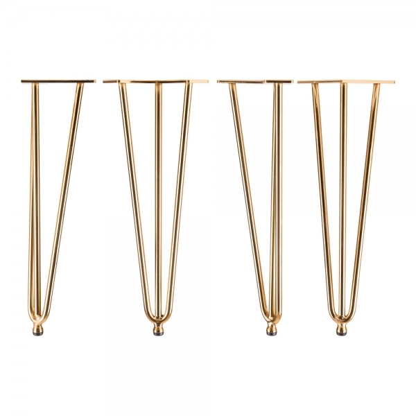 Coffee Table Legs Brass: Brass Set Of 4 Triple Rod Metal 41cm Hairpin Legs