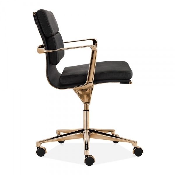 Cult Living Soft Pad Office Chair With Short Back Black Gold