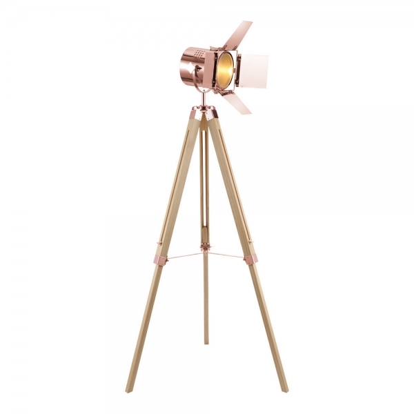 Copper Studio Tripod Floor Lamp Natural Wood Retro Lamps