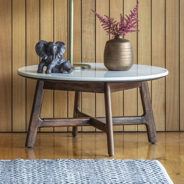 Sybil Marble Top Round Coffee Table Mid Century Tables