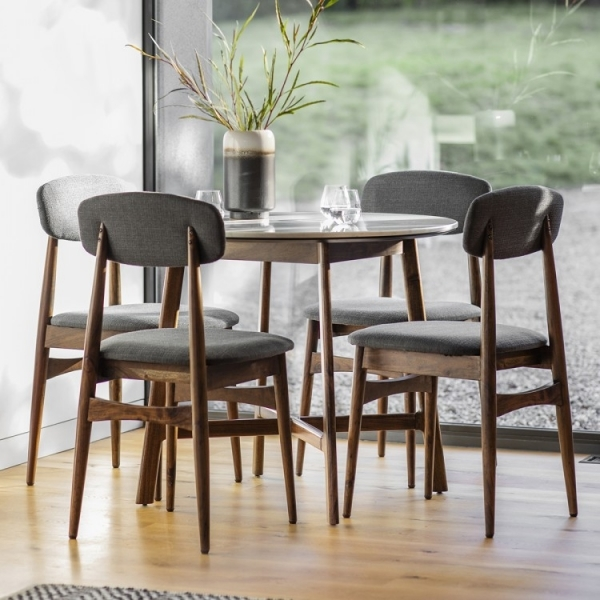Sybil Round Dining Table White Marble Top Brown
