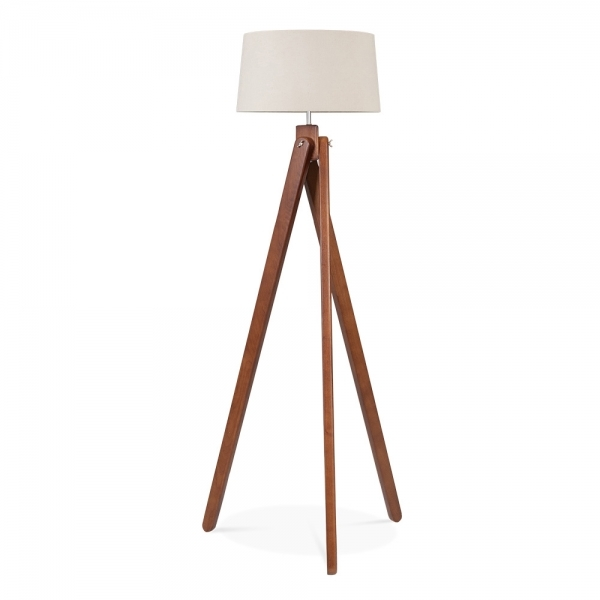 Cult living tripod floor lamp in walnut wood cult furniture uk cult living tripod wooden floor lamp cream lampshade walnut aloadofball Images