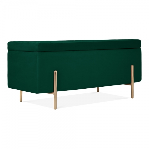 Awesome Valerie Ottoman Storage Bench Velvet Upholstered Forest Green Theyellowbook Wood Chair Design Ideas Theyellowbookinfo
