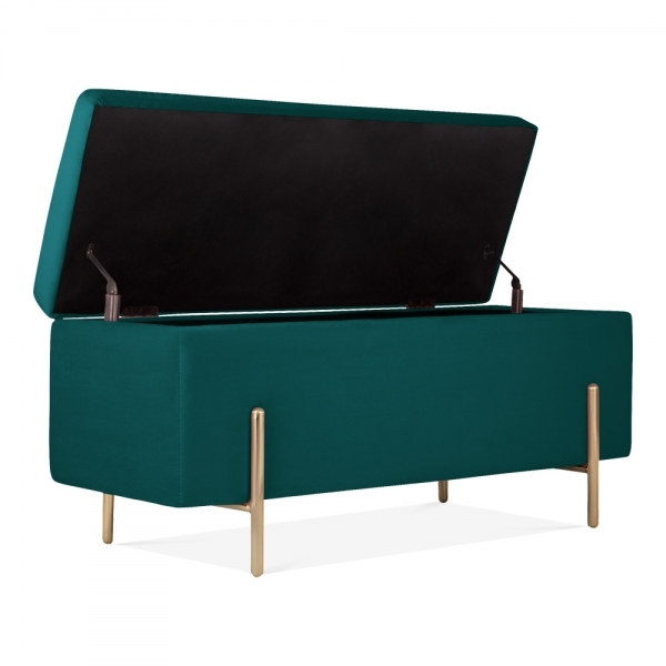 Fabulous Valerie Ottoman Storage Bench Velvet Upholstered Teal Bralicious Painted Fabric Chair Ideas Braliciousco