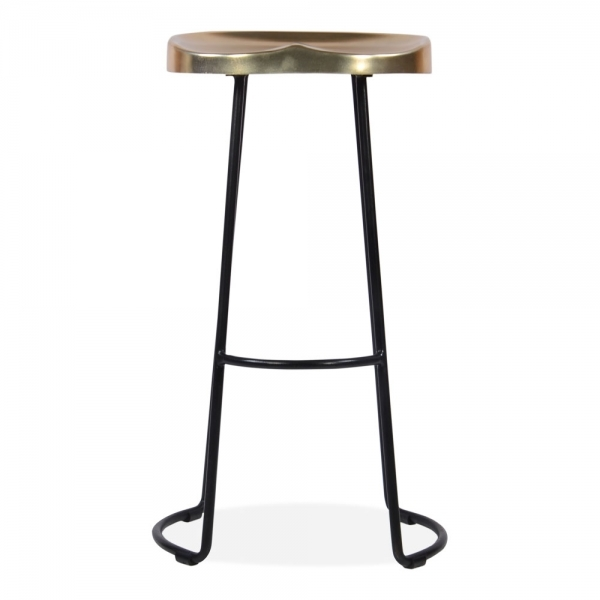Victoria Metal Bar Stool With Gold Seat Black 70cm