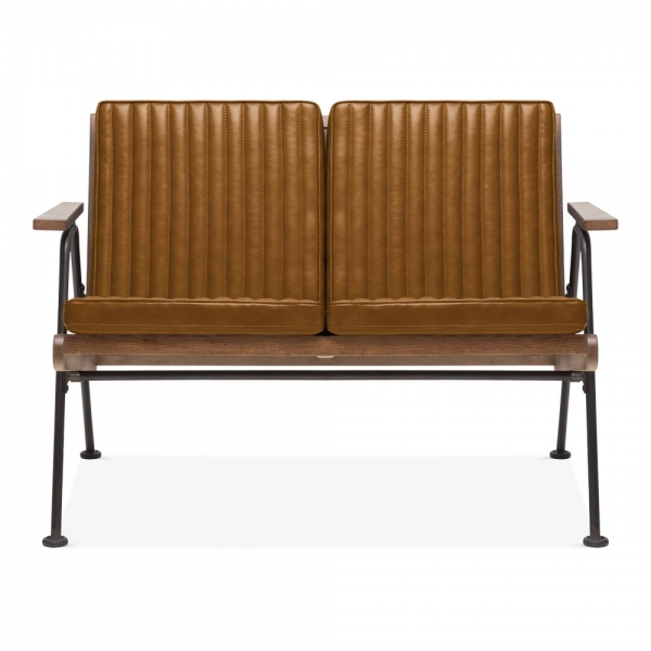 Awesome Cult Living Wickham Industrial 2 Seater Small Sofa Faux Leather Seat Brown Download Free Architecture Designs Scobabritishbridgeorg