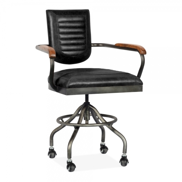 Black Leather Wren Industrial Office Chair Vintage Chairs