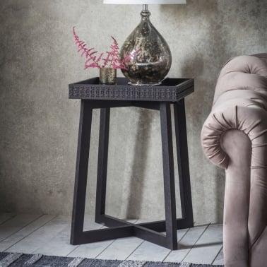 Zephyr Side Table, Solid Mango Wood, Black