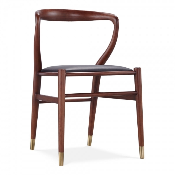 Walnut Brooke Wooden Dining Chair Faux Leather Upholstered Seat Cult Uk