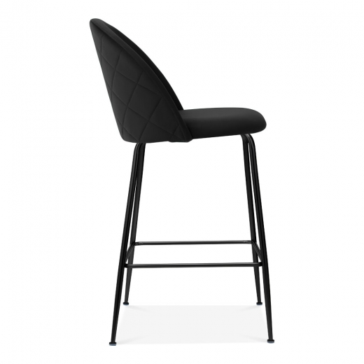 Sensational Cult Studio Heather Bar Stool With Backrest Velvet Upholstered Onyx Black 65Cm Ocoug Best Dining Table And Chair Ideas Images Ocougorg