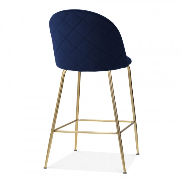 Fantastic Cult Studio Heather Bar Stool With Backrest Velvet Upholstered Royal Blue 65Cm Machost Co Dining Chair Design Ideas Machostcouk