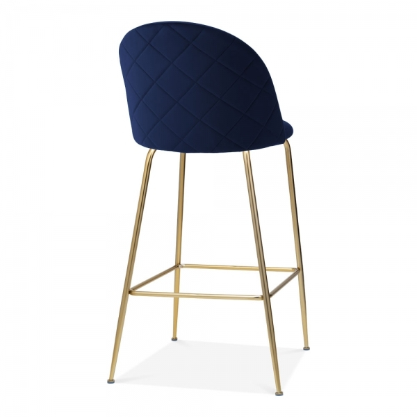 Terrific Heather Bar Stool With Backrest Velvet Upholstered Royal Blue 75Cm Gmtry Best Dining Table And Chair Ideas Images Gmtryco