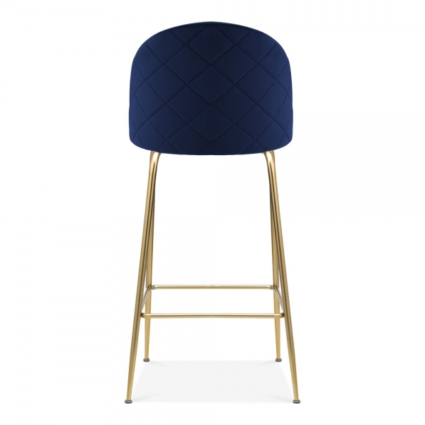 Amazing Heather Bar Stool With Backrest Velvet Upholstered Royal Blue 75Cm Gmtry Best Dining Table And Chair Ideas Images Gmtryco