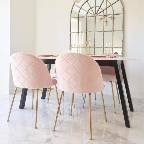 Light Pink Velvet Upholstered Heather Dining Chair Modern Dining Furniture