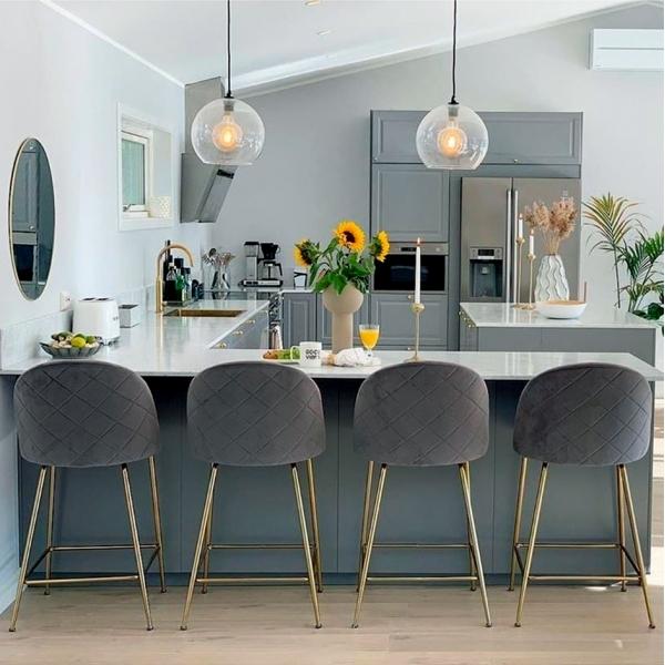 Taupe Velvet Upholstered 65cm Heather Bar Stool Kitchen Counter Stools