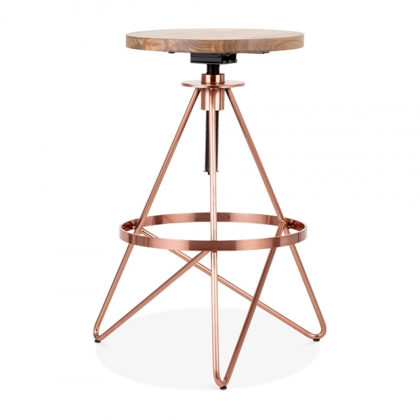 Cool Hendrix Metal Swivel Bar Stool Solid Elm Wood Copper 61 75Cm Unemploymentrelief Wooden Chair Designs For Living Room Unemploymentrelieforg