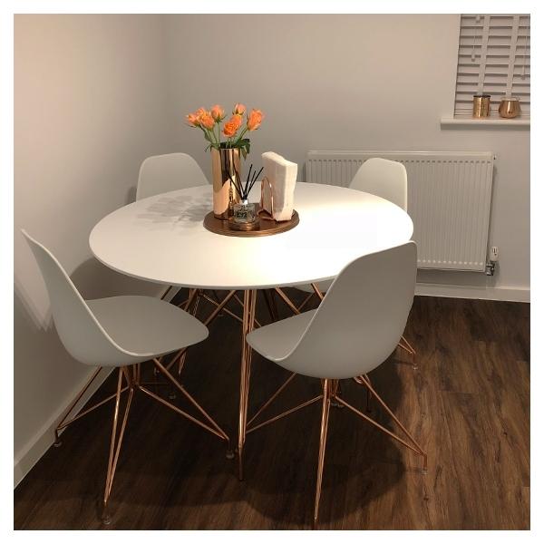 White Top 110cm Moda Cd1 Round Dining Table Modern Kitchen Furniture