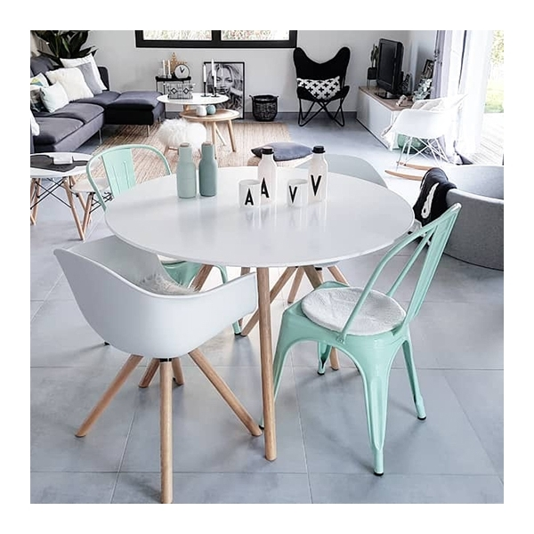 Moda Cd2 Round Dining Table With White 110cm Top Modern Dining Kitchen Tables