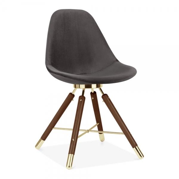 Cult Studio Moda Dining Chair Cd5 Grey Velvet Upholstered Walnut Gold Leg