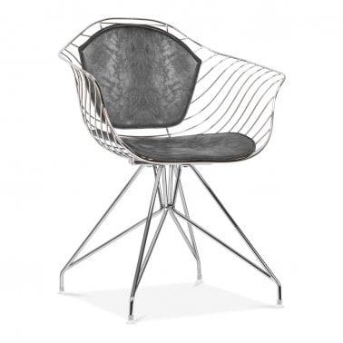 Moda Wire Metal Dining Armchair CD6, Chrome