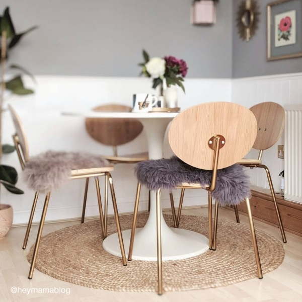 Cult Studio Roma Metal Dining Chair, Natural Oak Wood, Brass