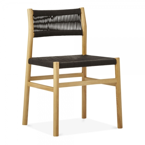 Natural Wood Southbank Dining Chair Black Woven Seat Rattan Chairs