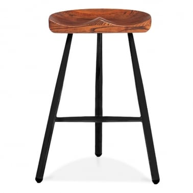 Dalston Bar Stool with Wood Seat - Black 77cm