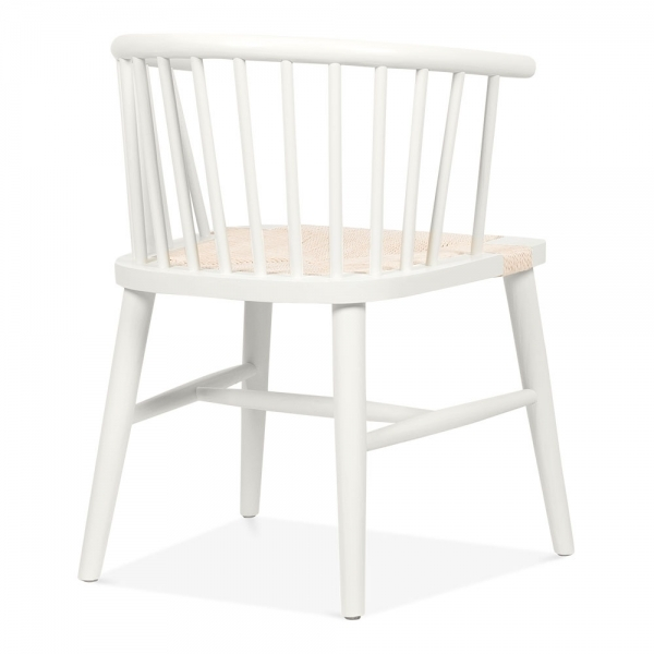 Pleasing Isabella Wooden Dining Armchair With Rattan Seat White Natural Ncnpc Chair Design For Home Ncnpcorg