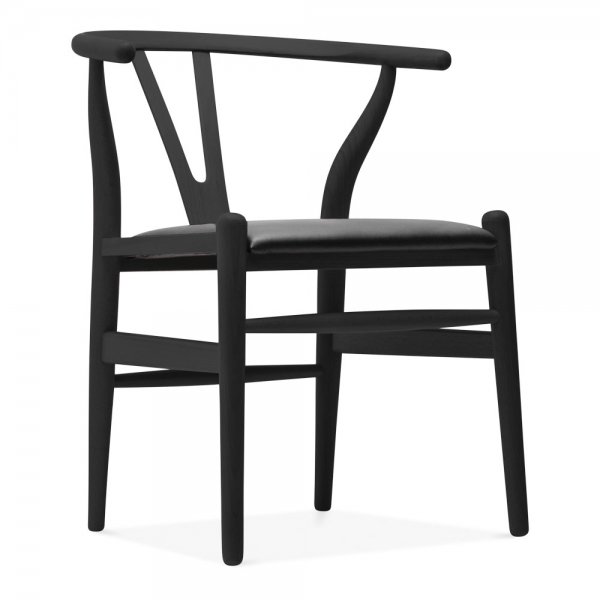 Black wishbone chair black faux leather upholstered seat for Danish design furniture replica uk