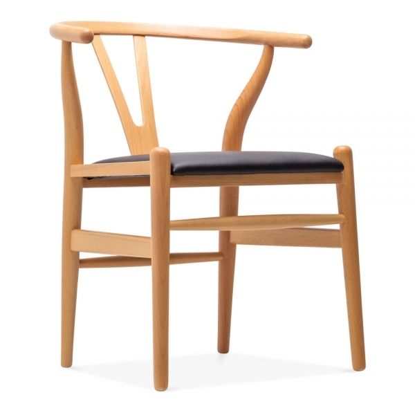 Natural wishbone chair black faux leather upholstered seat for Danish design furniture replica uk