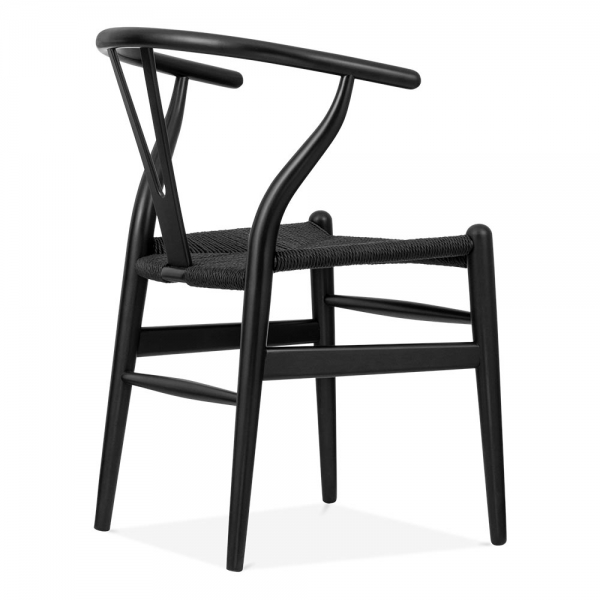 Bon Danish Designs Wishbone Wooden Dining Chair, Black Weave Seat, Black