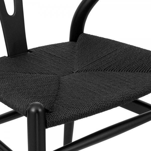 Stupendous Danish Designs Wishbone Wooden Dining Chair Black Weave Seat Black Pabps2019 Chair Design Images Pabps2019Com