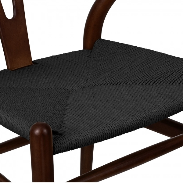 hans j wegner style wishbone chair darkbrown black seat