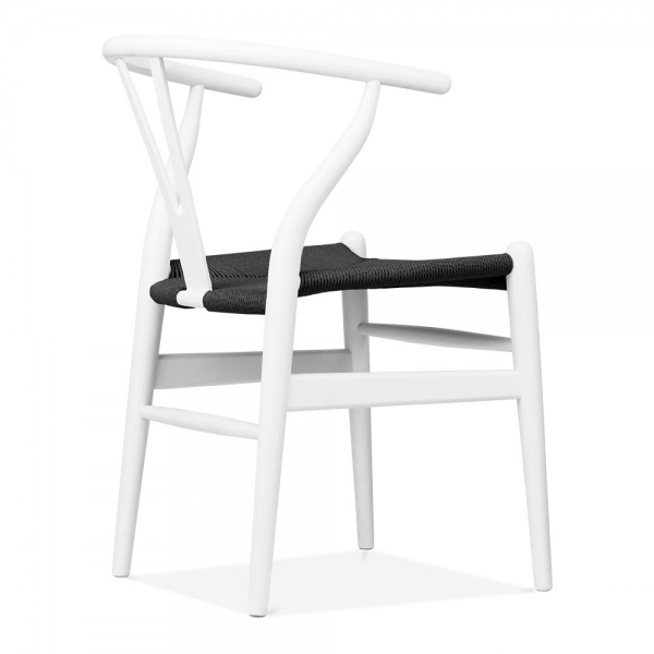 hans wegner style white wooden wishbone chair with black seat cult uk