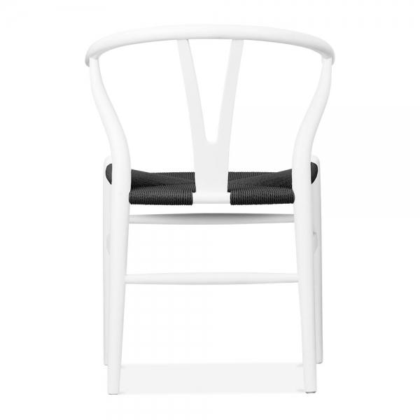 Danish Designs Wishbone Wooden Dining Chair, Black Weave Seat, White