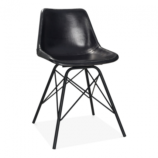 Cult Living Dexter Industrial Leather Dining Chair, Black