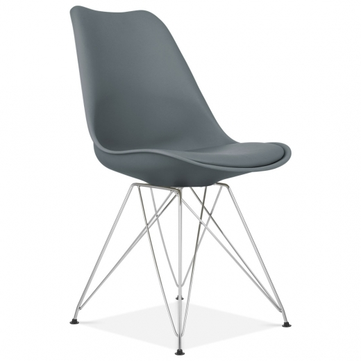 Eames Inspired Dining Chair with Eiffel Metal Legs - Grey