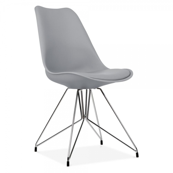 Scandi Designs Cool Grey Dining Chair With Geometric Legs