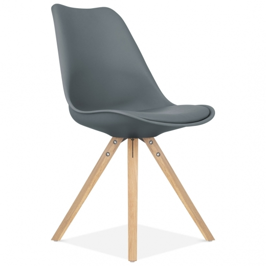 Eames Inspired Dining Chair with Pyramid Style Solid Oak Wood Legs - Grey
