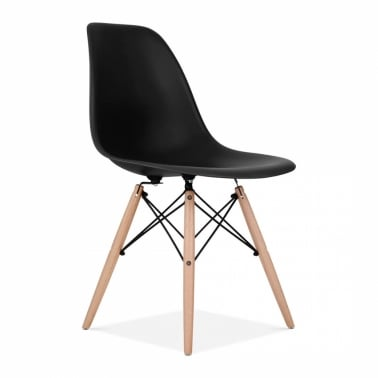 DSW Style Plastic Dining Chair, Black