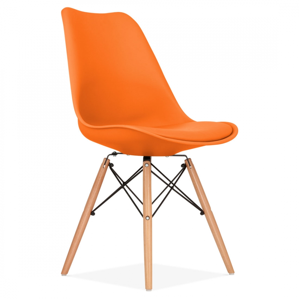 Orange Soft Pad Dining Chair With Dsw Style Wood Legs Kitchen Furniture