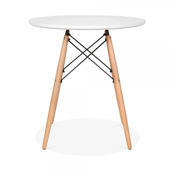 Table Ronde 70 Cm.Dsw Style Round Dining Table White With Natural Legs 70cm