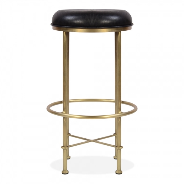 Incredible Duke Metal Bar Stool Faux Leather Seat Black 75Cm Machost Co Dining Chair Design Ideas Machostcouk