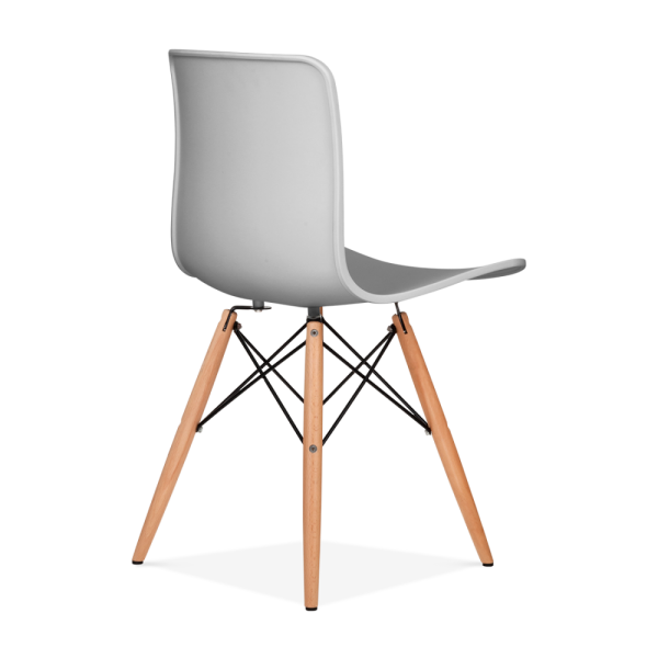 Eames Inspired Berlin Dining Chair With Eiffel Wood Legs   Light Grey