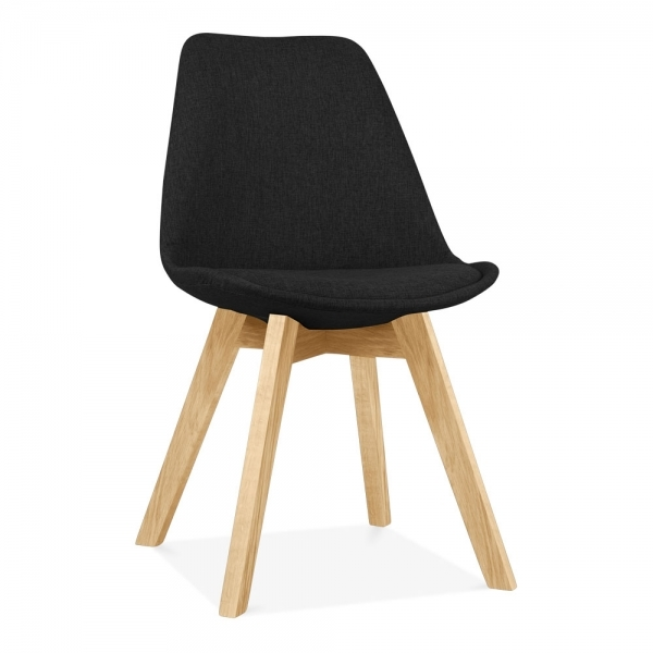 Eames Inspired Black Upholstered Dining Chair With Solid Oak Crossed Wood Leg Base