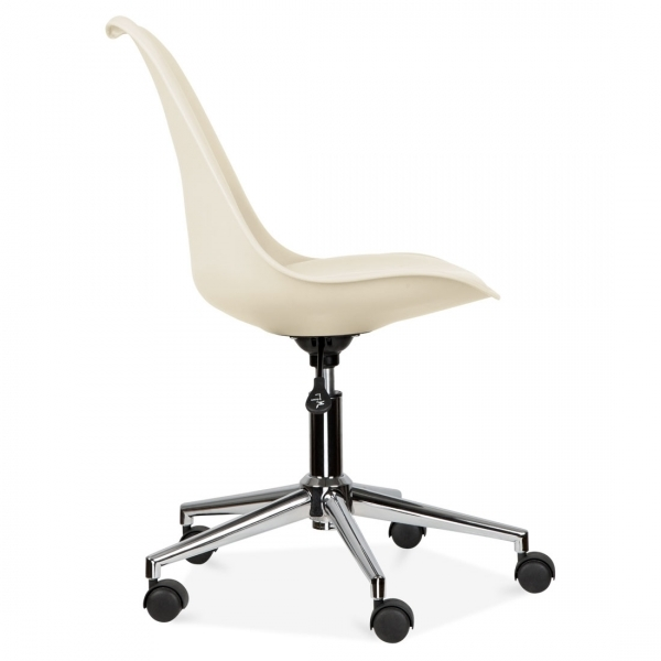 Eames Inspired Cream Office Chair With Soft Pad Seat