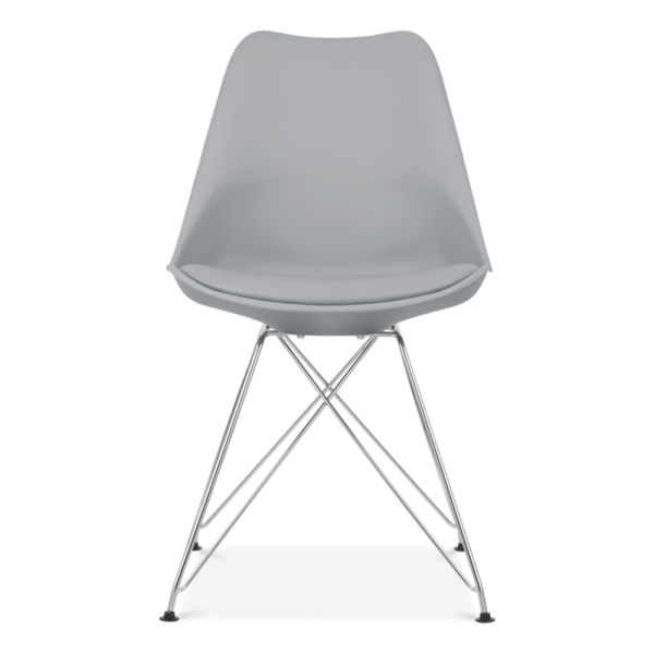Eames Inspired Dining Chair With Eiffel Metal Legs   Cool Grey