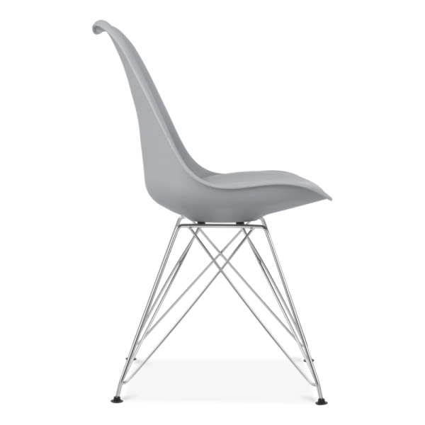 Perfect Eames Inspired Dining Chair With Eiffel Metal Legs   Cool Grey