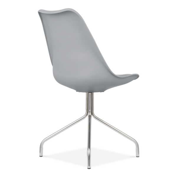 Delightful Eames Inspired Dining Chairs With Metal Cross Legs   Cool Grey